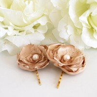 BOGO SALE -Wedding Hair Accessories - Set Of 2 Bronze Silky Satin Hair Flowers