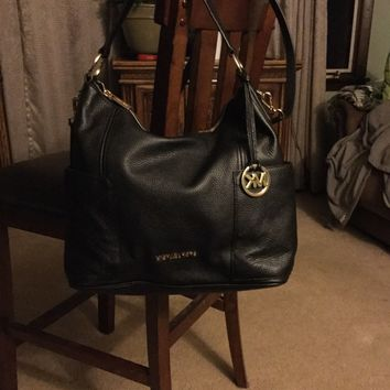 Michael Kors Anita Black Leather Medium Shoulder Hobo Crossbody Bag