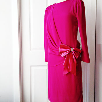 Vintage 80s bubblegum party dress/ purple pink prom/ long chiffon sleeves/ evening cocktail party/ pink satin bow rhinestones