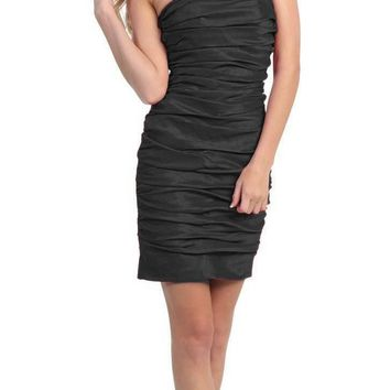 CLEARANCE - Black Short Cocktail Dress Strapless Tight Form Fit Ruched (Size 2XL)