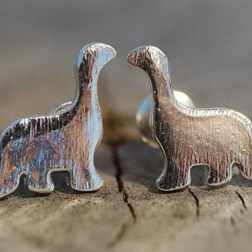 Silver plated tiny cute dinosaur stud earrings (EA00030)