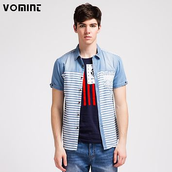 New Men Youth Denim Shirts Blue Striped short sleeved shirts cowboy Campus Wear