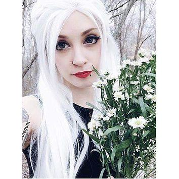 Long Pure White Cosplay Straight Synthetic Lace Front Wig