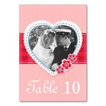 pink heart photo template table number card table card