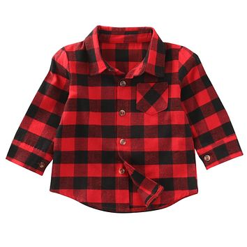 Fashion classic Autumn Baby Kids Boys Girls Long Sleeve Shirt Plaids Checks Tops Blouse Clothes Outfit
