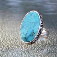 Vintage Barse Blue Turquoise Ring in Sterling Silver // vintage Thailand designer silver ring with filigree, Blue Turquoise Ring