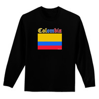 Colombia Flag Adult Long Sleeve Dark T-Shirt