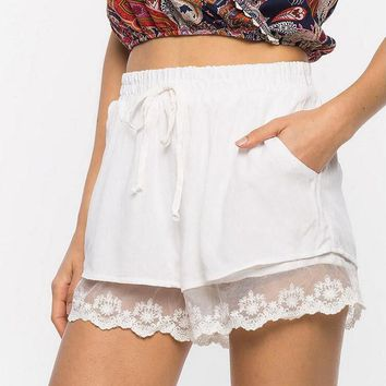 Women's Lacey Casual Elastic Waist Summer Shorts.   Available in White and Black.   Sizes Small to 3XL.   ***FREE SHIPPING***