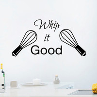Wall Decal Quote Whip It Good Stickers Vinyl Decals Art Mural Sweet Home Decor Cafe Interior Design Kitchen Sticker Living Room Decor KY26