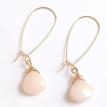 Pale Pink Stone Earrings