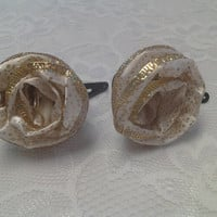 Cream and Gold Flower Ribbon Hairbows