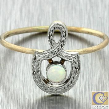 1920s Antique Art Deco Nouveau Estate Platinum 14k Yellow Gold Opal Knot Ring