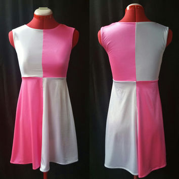 READY TO SHIP Pink and White Stretch Sleeveless Dress