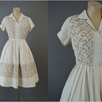 60s Embroidered Ivory Shirtwaist Dress with Full Pleated Skirt, 36 bust, Vintage 1960s Skirt, Some issues