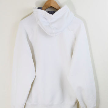 WHITE NIKE HOODIE / nike jumper / nike pullover / nike hooded sweater / swoosh / just do it / minimal / basic / vintage / mens / small