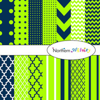 Digital Scrapbooking Paper Background Set – navy blue and lime green patterns – chevron , quatrefoil , polka dot , stripe INSTANT DOWNLOAD