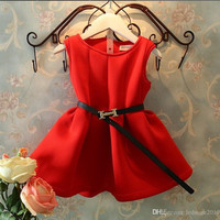 new 2014 autumn winter pleated vest dress kids clothes christmas red baby girls dresses vestido infantil suit2~7age