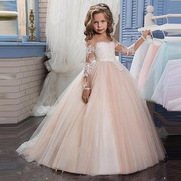 2017 Romantic Champagne Puffy Lace Flower Girl Dress for Weddings Organza Ball Gown Girl Party Communion Dress Pageant Gown