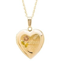 """New England Locket 14K Yellow Gold Tri-Color Engraved """"I Love You"""" Heart Locket Pendant Necklace"""