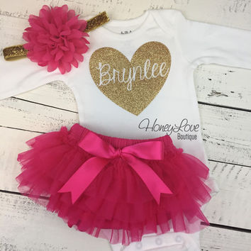 PERSONALIZED Name Heart Set GOLD or SILVER glitter shirt pink flower headband bow tutu skirt bloomer infant baby girl Valentine's Outfit