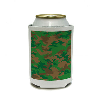 Camouflage Print - Green Brown Can Cooler Drink Insulator Beverage Insulated Holder