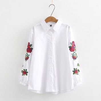 Women Blouses 2019 Fashion Embroidery Long Sleeve Turn Down Collar Office Shirt Chiffon Blouse Casual Tops Plus Size Blusas
