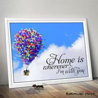 Home Is Wherever Im With You, Typohraphic art, Printables, Quote Print, Poster Art, Printable art, wall decor, Art Deco, Instant Download