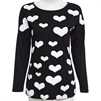 Stylish Scoop Collar Long Sleeve Heart Print Zippered T-Shirt for Ladies