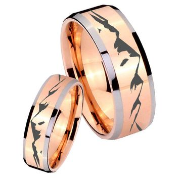 His Hers Rose Gold Beveled Mountain 2 Tone Tungsten Wedding Rings Set