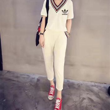 DCCK6HW Adidas' Women Casual Multicolor Stripe V-Neck Short Sleeve Trousers Set Two-Piece Sportswear