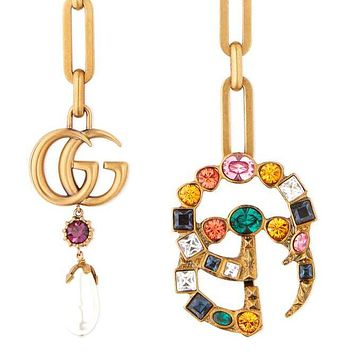 GUCCI Fashion Women Men Colorful Crystal GG Pendant Love Necklace Jewelry