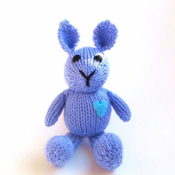 Hand Knit Purple Bunny -  Childrens Stuffed Animal - Miniature Plush Toy - Amigurumi Rabbit for Kids