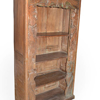 Antique Bookcase Hand Carved Chakra Borders Teak Wooden Bookshelf OLD WORLD Spanish Southern Tuscan Interiors