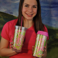 Personalized Lilly Pulitzer Acrylic Cold Drink Tumbler with Straw