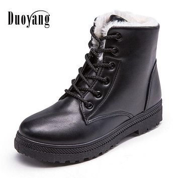 Women Winter Lace-Up Pu Leather Classic boot Shoes 2017 New Style Flat Casual Shoes snow Boots