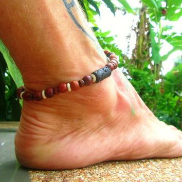 Lava Stone, Bone & Wooden Beaded Anklet / Stretchy Ankle Bracelet / Mens Ankle Bracelet / Beaded Anklet / Surfer Ankle Bracelet / Manklet