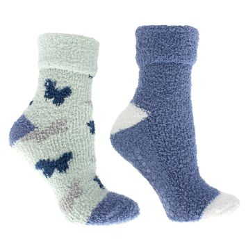 """Women's Rose and Shea Butter Infused 2-Pair Pack Slipper Socks with Sachet Gift, """"Butterflies"""""""