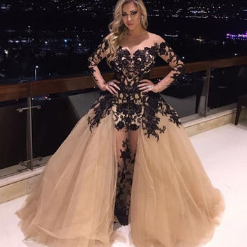 2016 New Special Prom Dresses Sheer Long Sleeve Lace Appliques Tulle Sexy Formal Party Dress Evening Gowns Removable Train EV60
