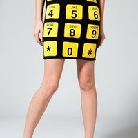 Jeremy Scott | Phone Skirt in Black/Yellow Puff Binder