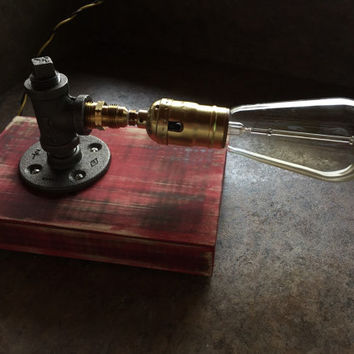Industrial Red/Black Desk Lamp With Iron Pipes and Edison Bulb **FREE SHIPPING**