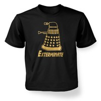 Something Geeky PP - Gold Exterminate Dalek Kids' T-Shirt - Inspired By Doctor Who