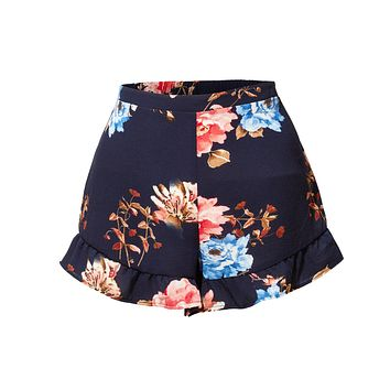 LE3NO Womens Lightweight Stretchy Floral Print Ruffled Summer Shorts