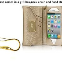 Cellbell High Quality Designer Style Gold Wallet Leather purse Case For iPhone 4 4S 4 S With Card Holder