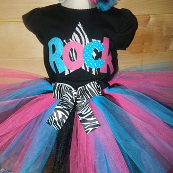 Girls Rockstar Rock Star Diva Birthday Outfit Personalized Zebra Shirt TuTu Skirt 2 Hair Puffs Pink Teal Black5 6 7 8
