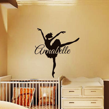 Ballerina Wall Decals For Girl Name Decal Kids Nursery Personalized Vinyl Stickers Home Bedroom Decor  T4