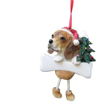 "Beagle Ornament with Unique ""Dangling Legs"" Hand Painted and Easily Personalized Christmas Ornament"