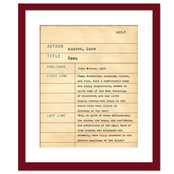 Emma by Jane Austen - Library Card Art Print - Book Lovers Poster - Library Poster - Book Gift - Dewey Decimal System - Jane Austen Quote