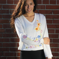 Vintage 1980s White Embroidered V-Neck Sweater