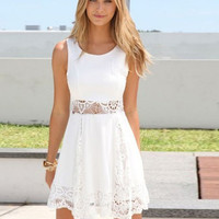 White Sleeveless Lace A-Line Mini Skater Dress