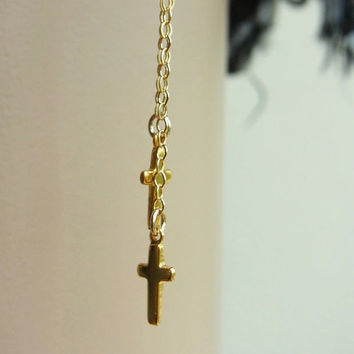 14K Gold filled nose chain with Double Gold cross